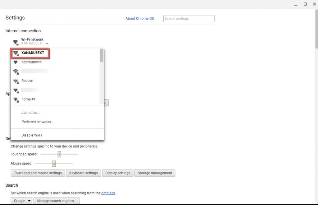 Wi-Fi information Chromebook