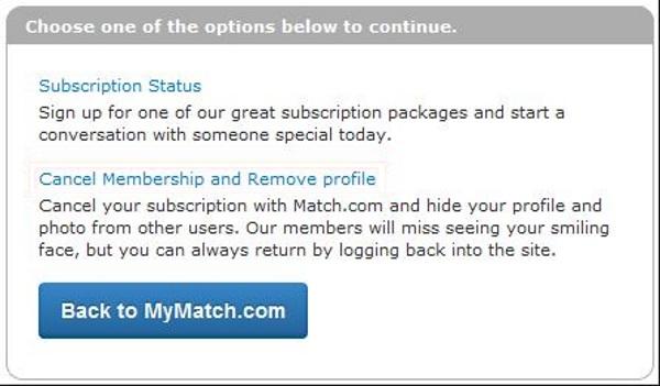 delete profile from match com