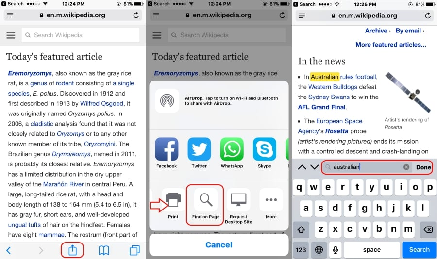 How To Search For Text On The Iphone In Chrome Or Safari