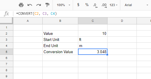 Convert Feet To Meters In Google Sheets