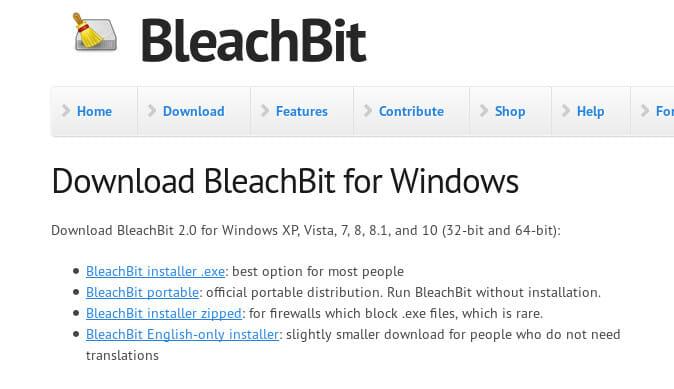 Bleachbit Install on Windows