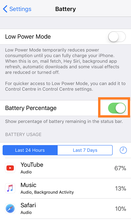 How To Show Battery Percentage in Top Bar on iPhone XS/XS Max