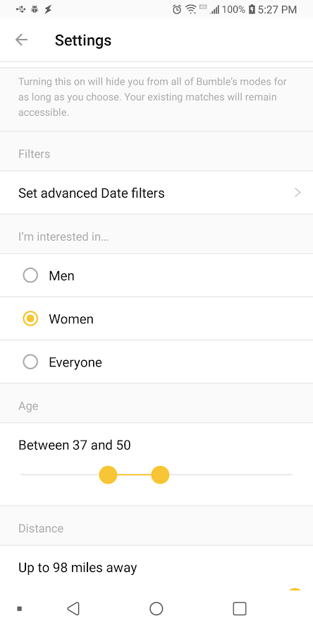 Bumble not showing distance